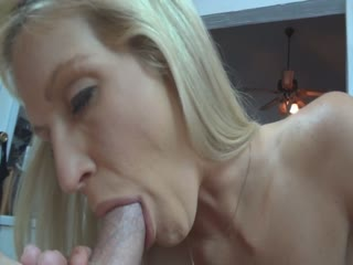 Pretty blonde fucks herself with sex toys before she sucks a dick