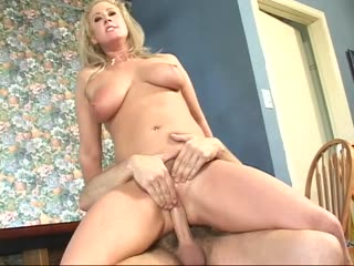 Big Breasted Blonde Rides A Cock