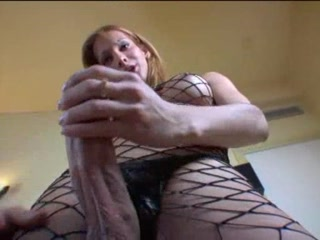 Nice Blonde Shemale Jerking Off Her Big Cock