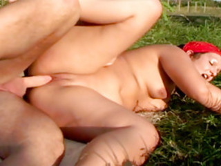 Naked BBW Rides A Fat Cock In The Fields