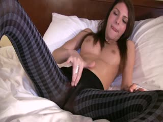 Sexy Girl In Pantyhose Rubbing Her Horny Pussy