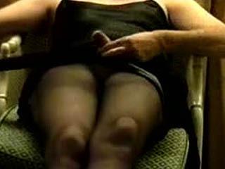 Sitting pantyhose jerk off