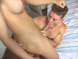 Tgirl fucks the dude in his mouth and butthole