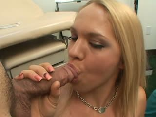 Blonde sucking two dicks in doctor's office