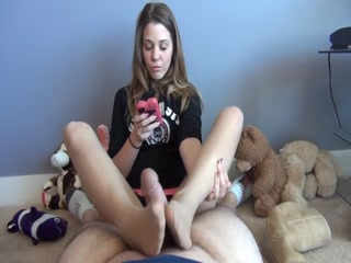 Pantyhose Footjob From Texting Brat