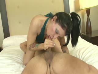 Kayla Jade slurps a stiff cock