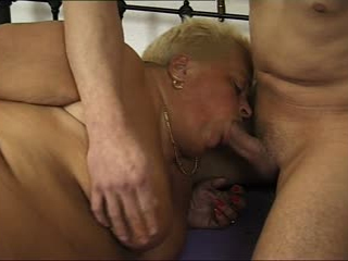 Blonde Fat Granny Tries A Young Cock