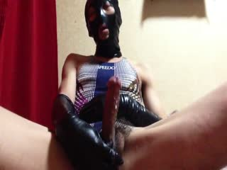 Latex Masked CD Masturbate Cumshots