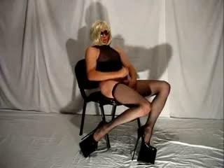 Blonde In High Heels Strokes Cock