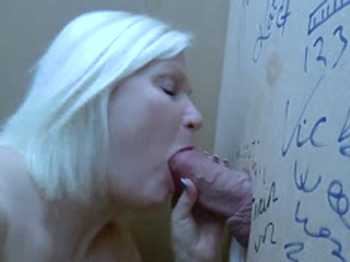 Blonde Mature Sucks Cock Through A Gloryhole And Gets Fucked