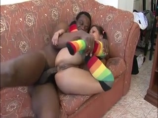 Amateur Teen In Rainbow Kneesocks Gets Interracial Anal Sex