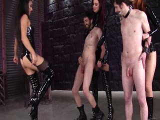 Ballbusting Pain Party By Three Mistresses