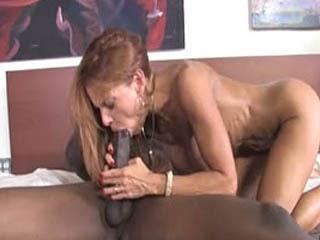 Long Black Dick Stretching Janet Mason's Cunt