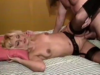 Dildo before a hard dick for a horny blonde