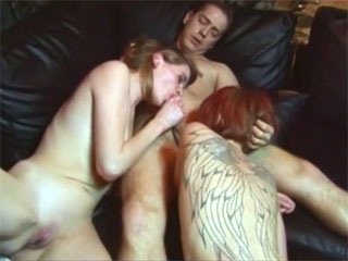 Two girls fucking a horny cock