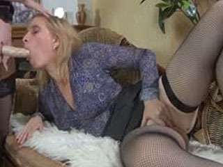Doll-Faced French Maid Armed With A Strap-On Dildo Servicing A Mature Lady