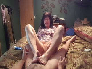 Oily POV Footjob Delivered From My Kinky Mature Redhead Wife