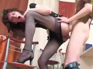 Sexy Bitch With Nylon Stockings Gets Deep Anal Fucking