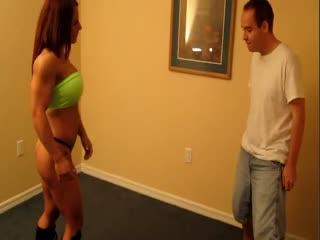 Bodybuilder Bikini Ballbusting