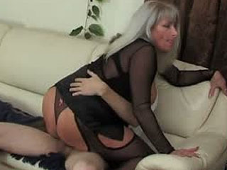 Raunchy milf catching her son's friend jerking off and using his hard boner