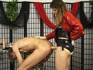 Cruel mature Mistress Uses Her Slave Hard