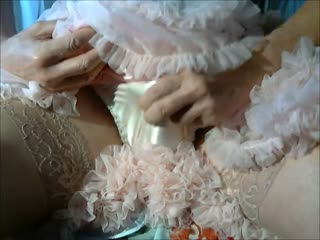 Wanking In A Pink Frilly Nylon Lace Petticoat Slip With Jerk Off Wank To Orgasm