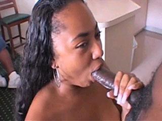 Black Chick Giving A Blowjob