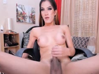 Hot Shemale Strokes Her Big Cock On Cam