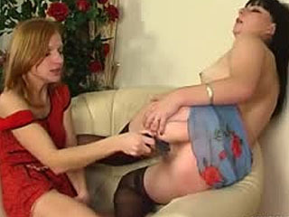 Lesbian Girl And Experienced Mature Chick Spreading Legs For Hot Dildo Play