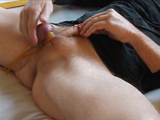 Spanked balls forced to cum