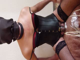 Slave Gagged Cums In Chastity