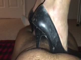 Black Leather Heels Trampling