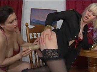 Frisky Babe Welcomes An Experienced Mature Gal With A Dildo Into Her Pussy