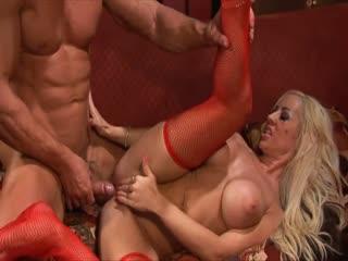 Busty blonde slut gets all her holes drilled