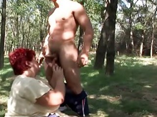 Exhausted Fatty Fucked In The Forest
