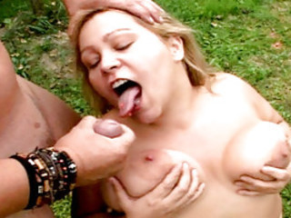 Fat Blonde Gets Fucked Outside