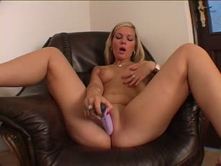 Blonde chick plays with herself