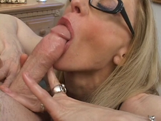 Big Titted Blonde Mom Stroking And Sucking Cock Until It Cums Over Her Face