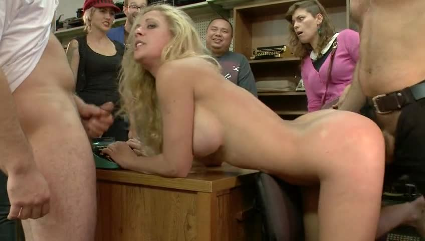 Public disgrace blonde in sex shop something is
