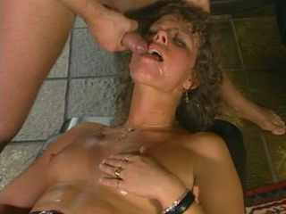 Mature slut gangbanged by four cocks