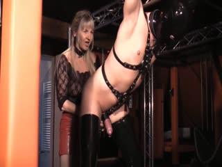 German Granny Punish Slave Testicles Sexy CBT