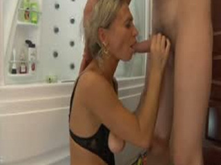 Curvy Milf Spies Upon A Guy In The Shower Itching For A Dosage Of Male Meat