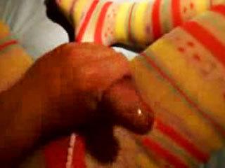 Sissy in pantyhose stroking his big dick