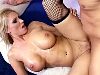 Horny MILF banged in all her holes