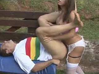 Hot-Assed Shemale In Cute White Stockings Packing Some Male Butt Outdoors