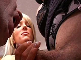 Demanding Mistresses Force Slave To Suck Hot Shemale