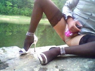 Outside In Wet Pantyhose Stockings Highheels And Cumshot