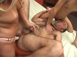 A Tranny And A Chick Fucking The Guys Ass