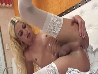 Wanking In Blonde Shemales Ass