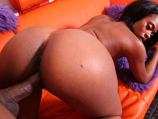 Sexy black girl Divine gives a blowjob and gets fucked hard